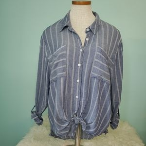 DIP high low button down tie front blouse Large